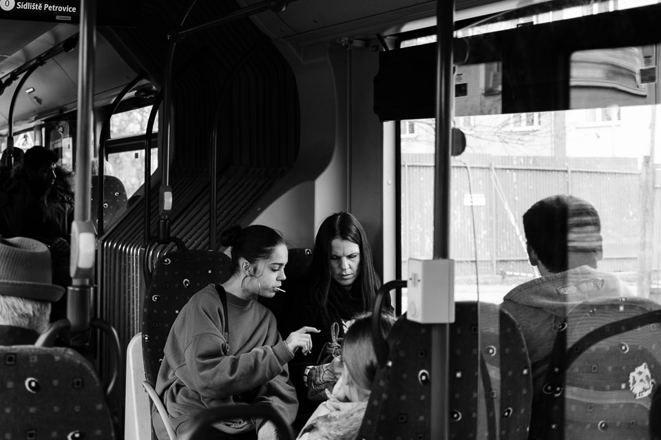 Family in a bus